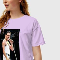 Футболка оверсайз женская Queen: Freddie цвета лаванда — фото 2