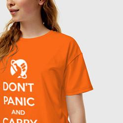 Футболка оверсайз женская Dont panic & Carry a Towel цвета оранжевый — фото 2