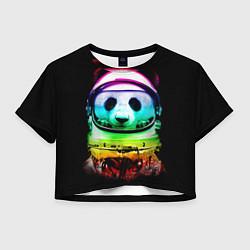Футболка 3D укороченная женская Панда космонавт цвета 3D — фото 1