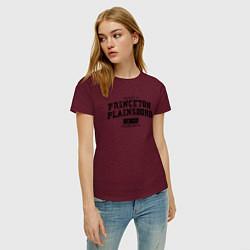 Футболка хлопковая женская Princeton Plainsboro цвета меланж-бордовый — фото 2