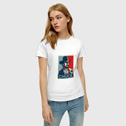 Футболка хлопковая женская Chuck Poster цвета белый — фото 2