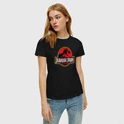 Футболка хлопковая женская Jurassic Park цвета черный — фото 2
