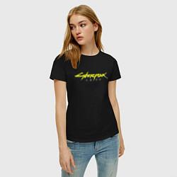 Футболка хлопковая женская Cyberpunk 2077 цвета черный — фото 2