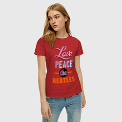 Футболка хлопковая женская Love peace the Beatles цвета красный — фото 2