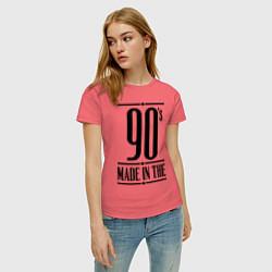 Футболка хлопковая женская Made in the 90s цвета коралловый — фото 2
