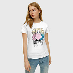 Футболка хлопковая женская Puddin' цвета белый — фото 2