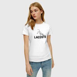 Футболка хлопковая женская Lacoste цвета белый — фото 2