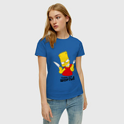 Футболка хлопковая женская Съешь мои шорты цвета синий — фото 2