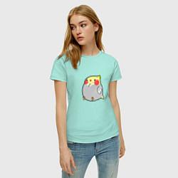 Футболка хлопковая женская Пухлый попугайчик цвета мятный — фото 2