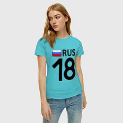 Футболка хлопковая женская RUS 18 цвета бирюзовый — фото 2