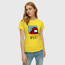 Футболка хлопковая женская Among Us WHERE? цвета желтый — фото 2