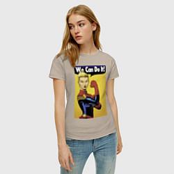 Футболка хлопковая женская Captain Marvel WE CAN DO IT цвета миндальный — фото 2