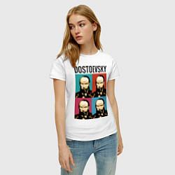 Футболка хлопковая женская Dostoevsky цвета белый — фото 2